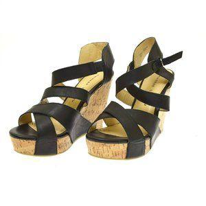 Chinese Laundry Black Leather Cork Heel Women's Heels Sandals 9.5 NEW Drastic